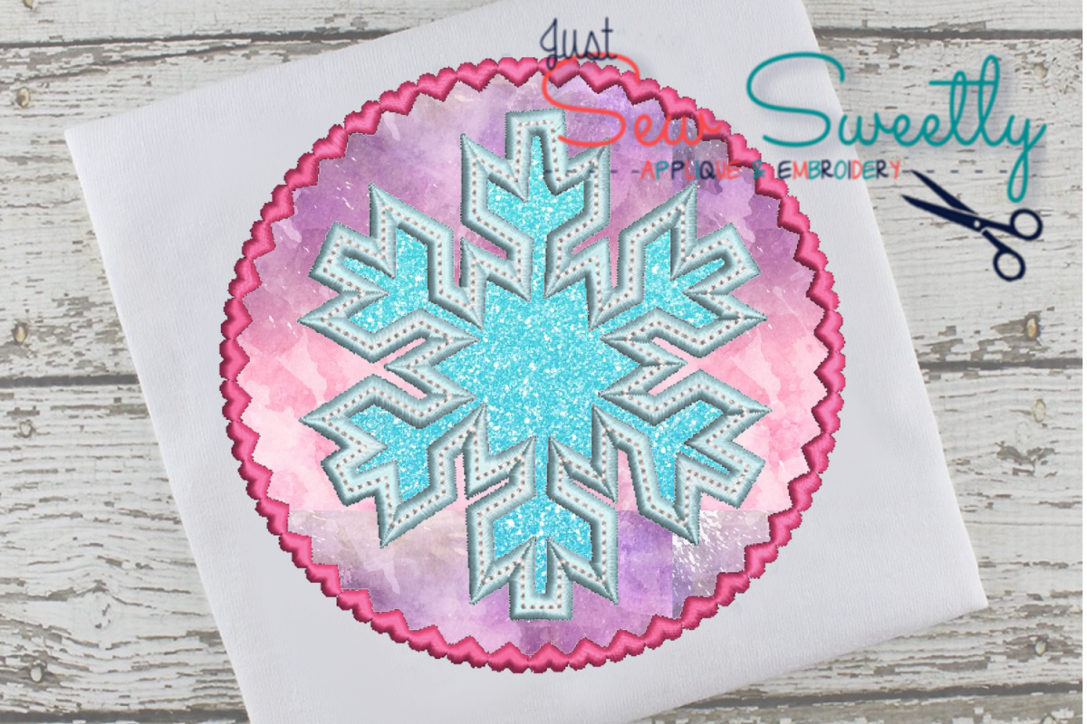 Christmas Snowflake Applique Embroidery Design example image 1