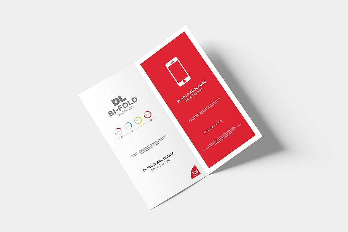 dl bi fold brochure mock up by alkstudi design bundles