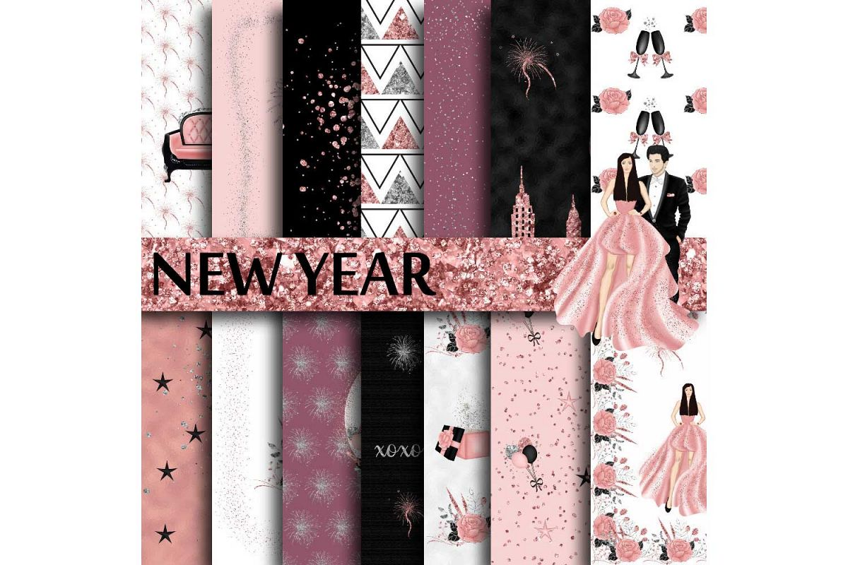 New Years Eve Digital Paper example image 1