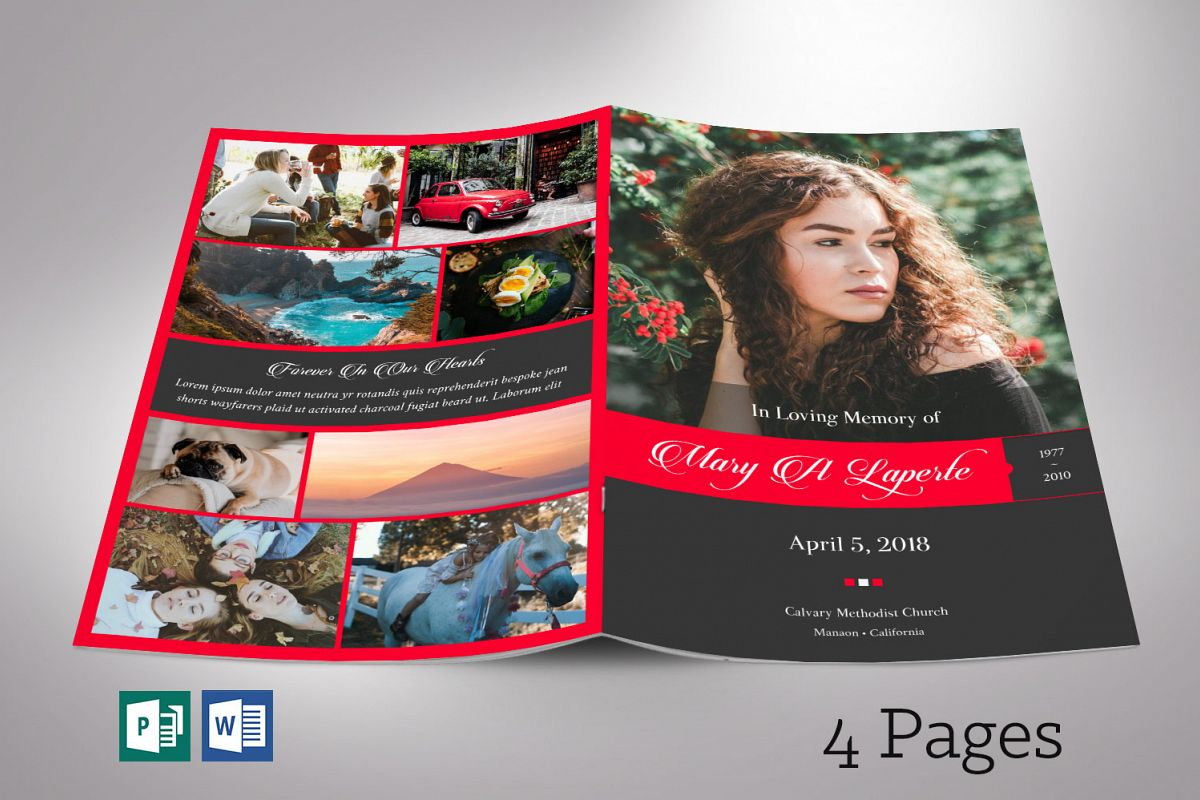 Remember Red Funeral Program Word Publisher Template 4 Pages example image 1