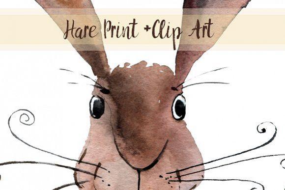 Watercolor Hare Print + Clip Art example image 1