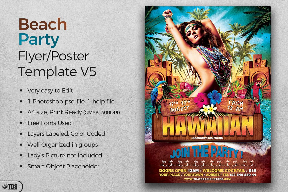 Beach Party Flyer Template V5 example image 1
