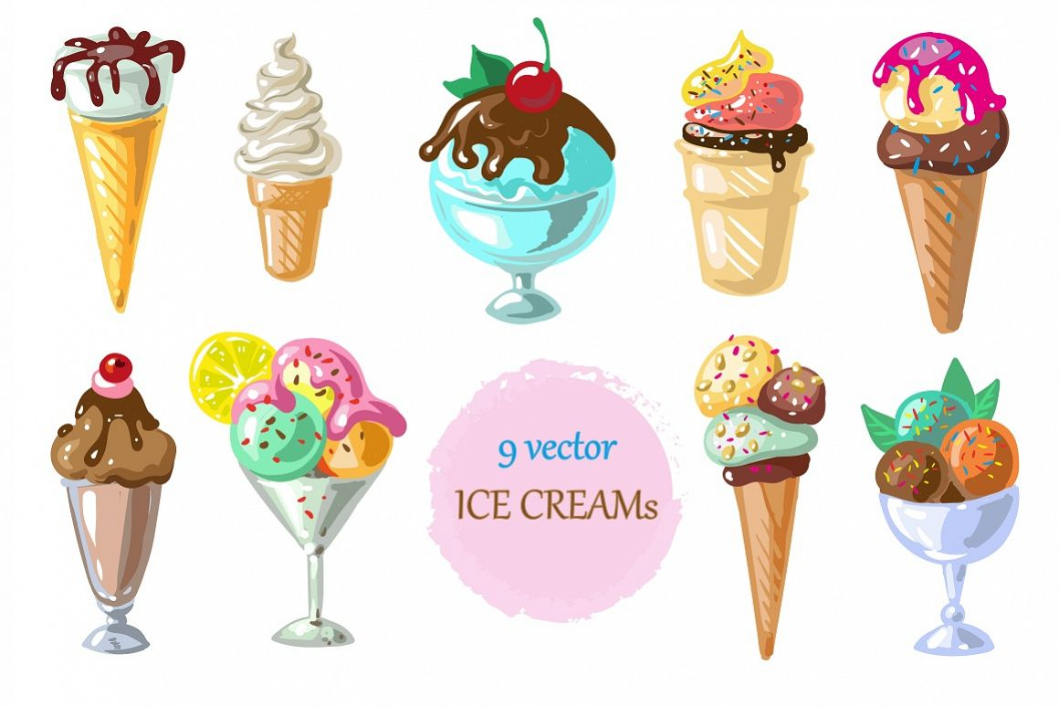 Vector ice creams example image 1