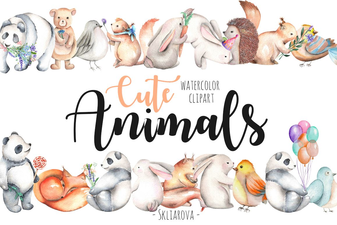 Watercolor cute Animals example image 1