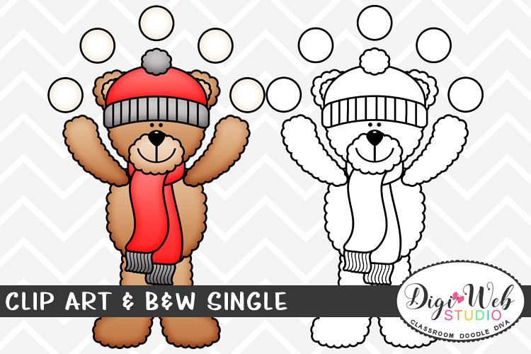 Clip Art & B&W Single - Winter Teddy Bear Juggles Snowballs example image 1