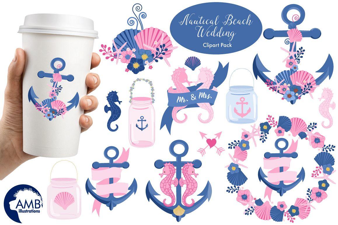 Nautical Beach Wedding Graphic Ilration Clipart Amb 1393 Example Image