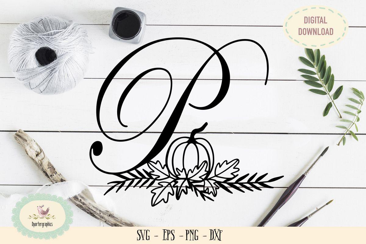 Monogram P pumpin paper cut SVG PNG fall paper cut example image 1