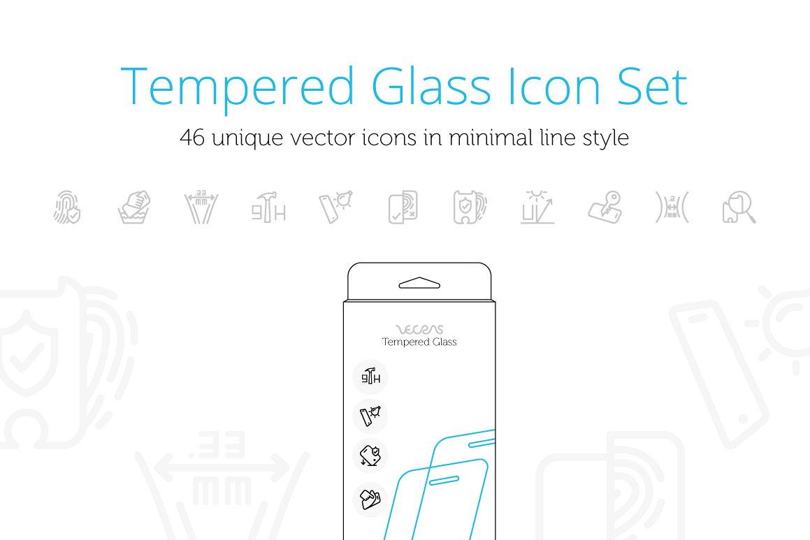 Mobile Tempered Glass Features Icons Set example image 1