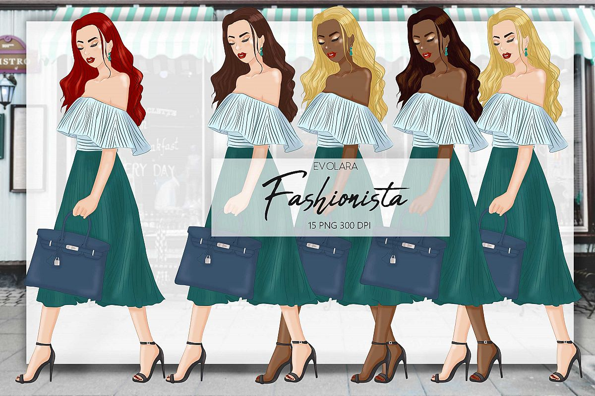 Fashion girl clipart girl boss clipart fashion illustrations example image 1