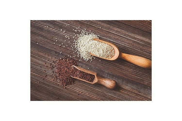 Scoops of white and red quinoa example image 1