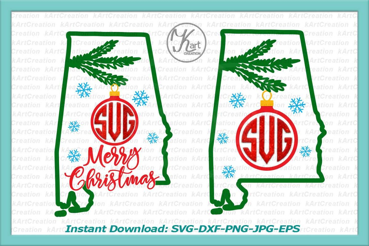 Alabama Christmas Monogram svg cutting file clipart png example image 1