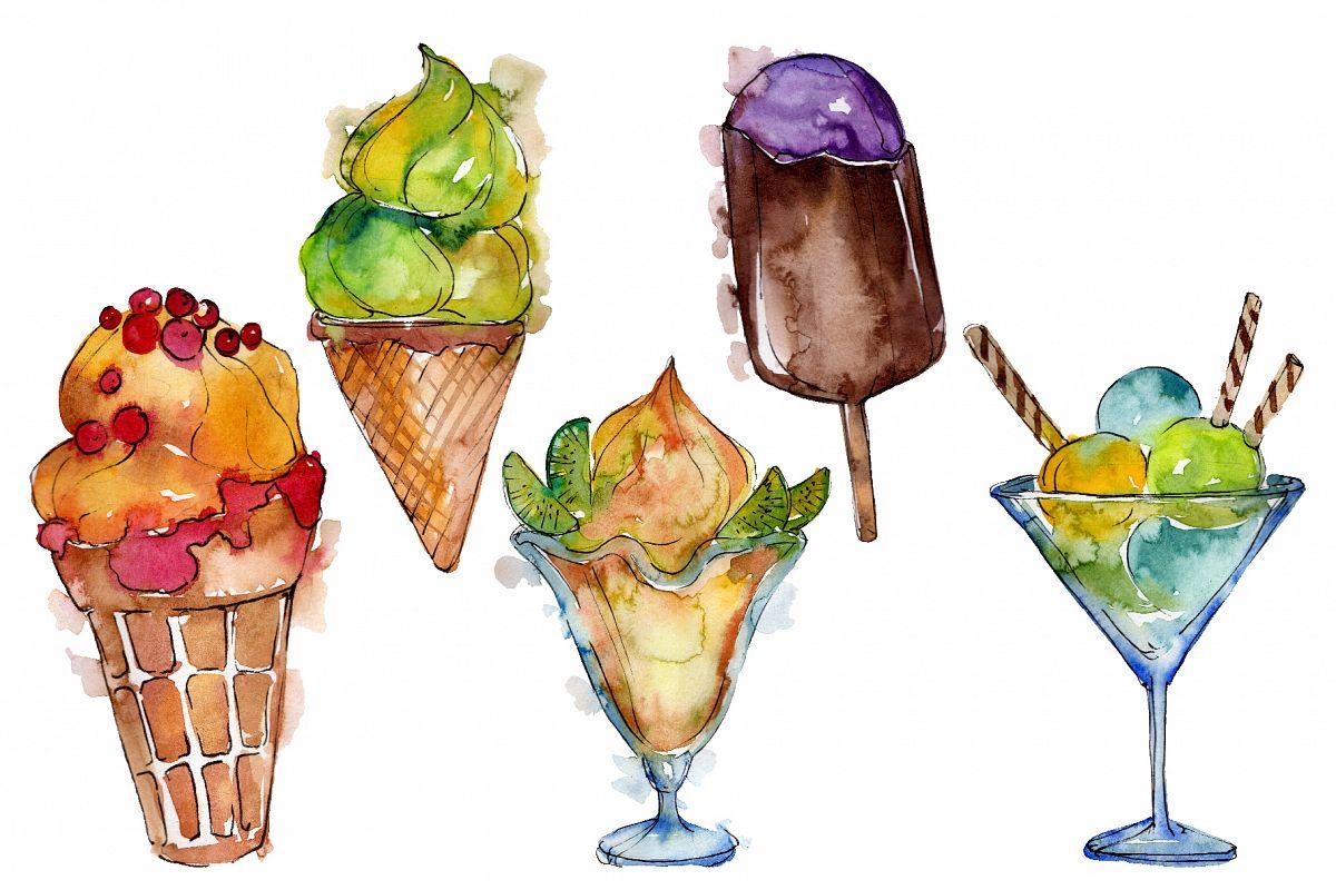 Ice cream Malvina Watercolor png example image 1