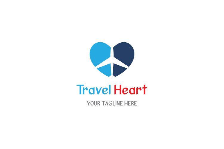 Aeroplane Heart Shape Logo example image 1
