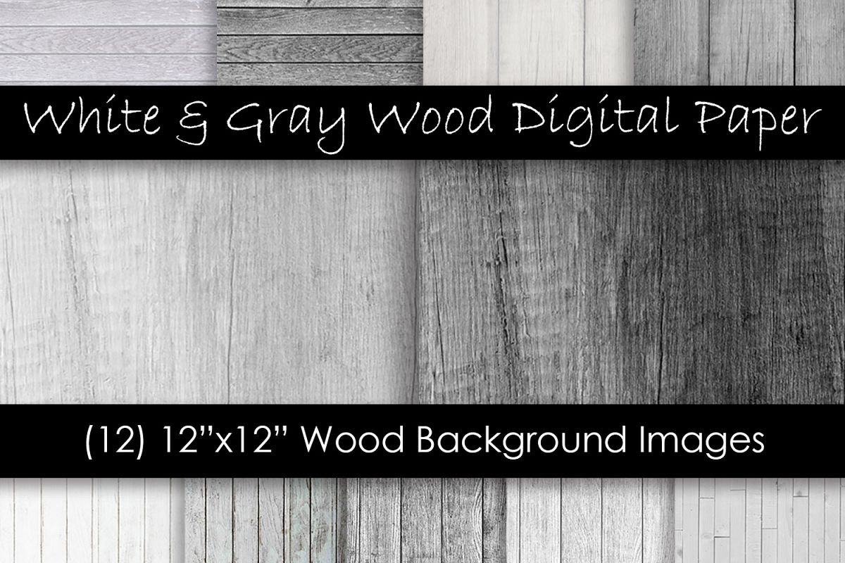 White & Gray Wood Textures - Wood Digital Paper example image 1
