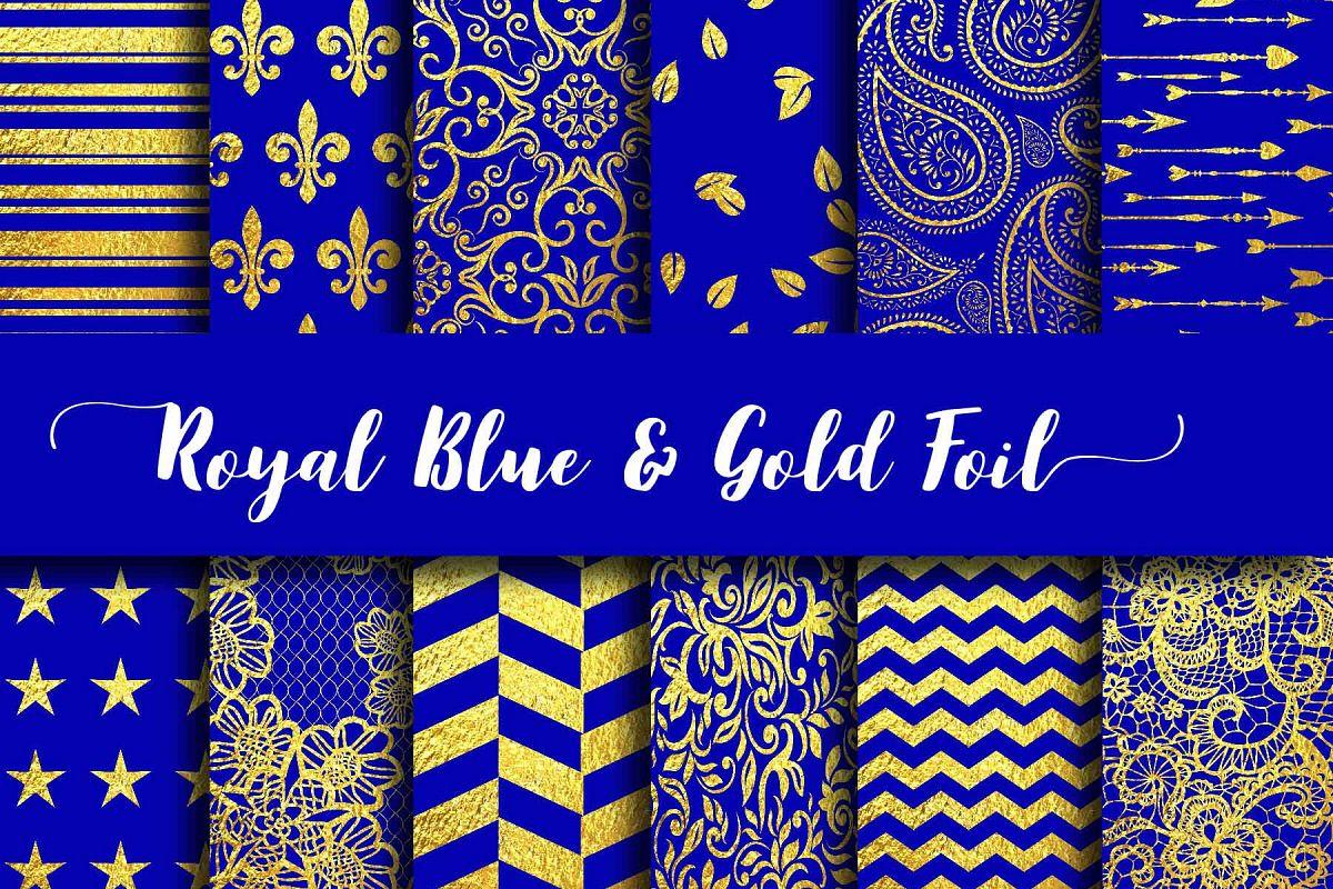 Royal Blue & Gold Foil Digital Paper example image 1