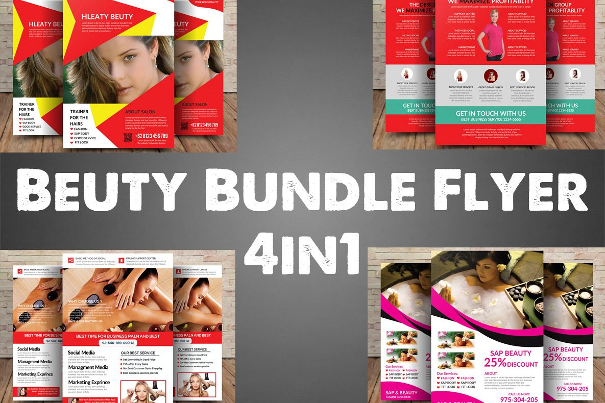 Beuty Bundle Flyer 4in1 example image 1