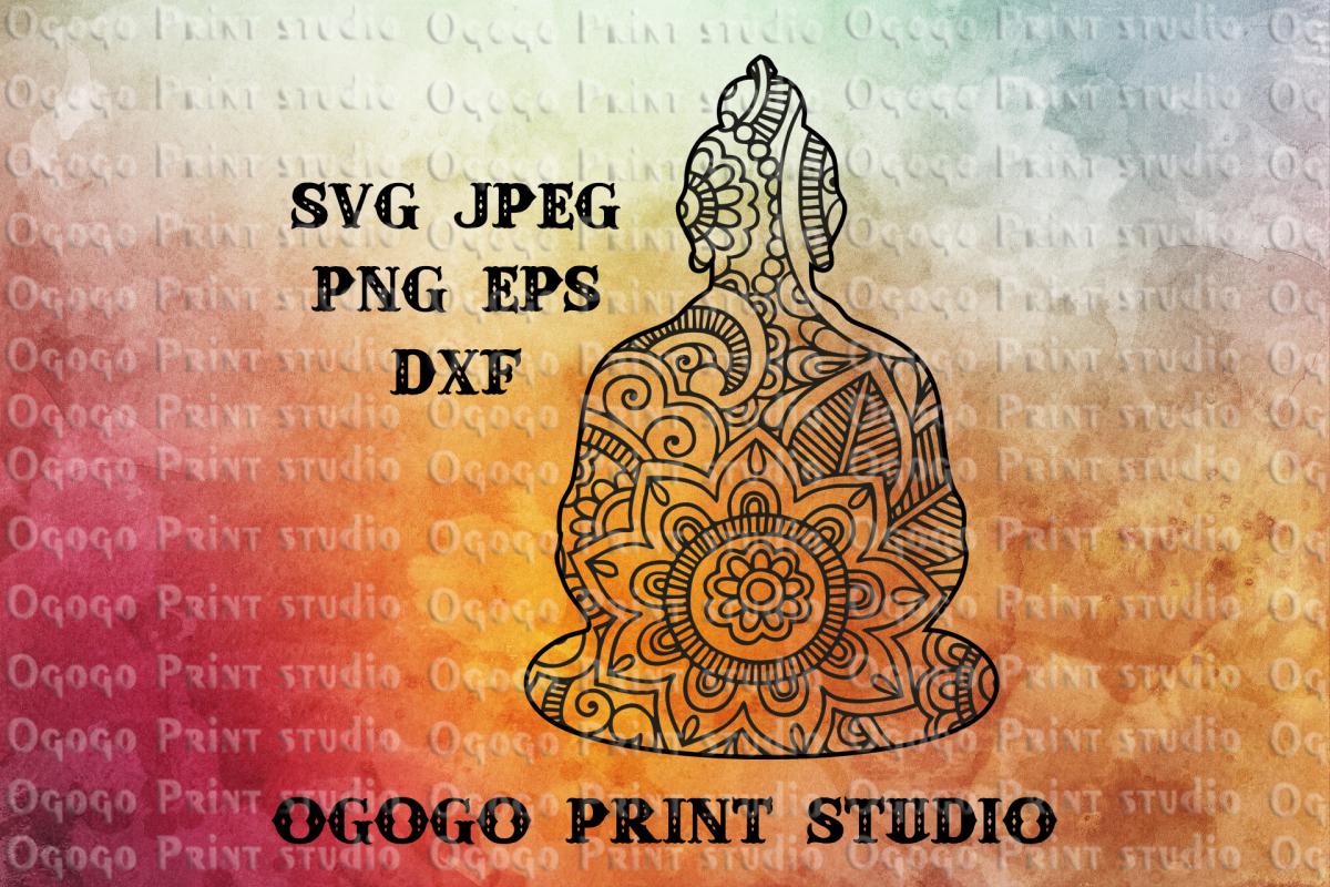 Buddha SVG, Zentangle SVG, Yoga svg, Mandala svg,Cricut file example image 1