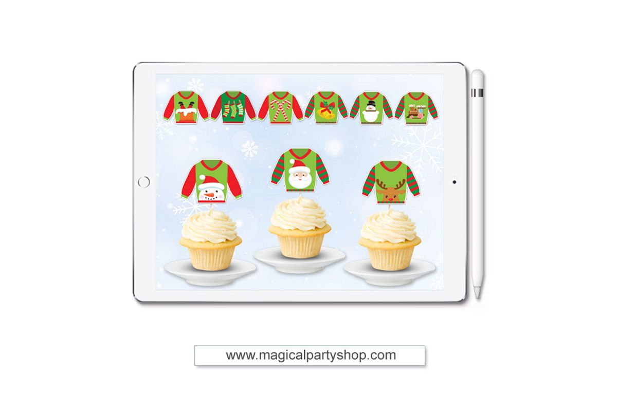 Christmas Ugly Sweater Cupcake Toppers Svg Print and Cut, Cu example image 1