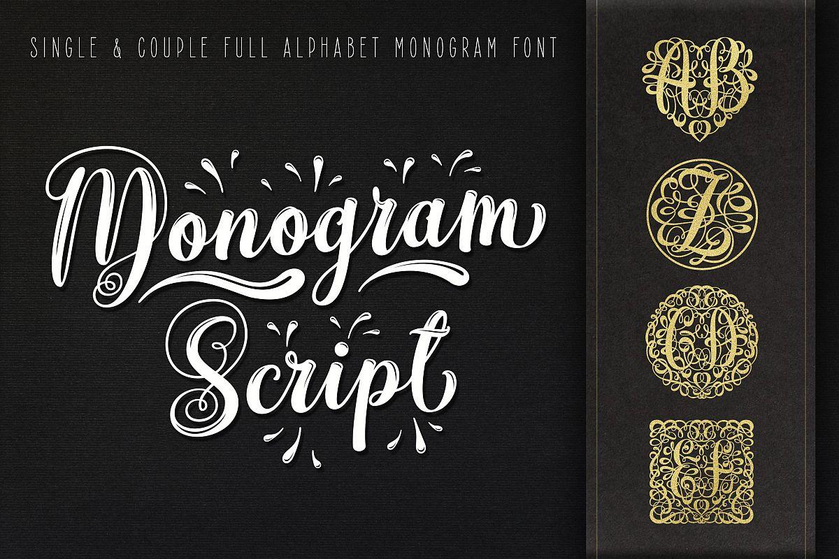 Monogram Script | Full Alphabet Single & Couple Monograms example image 1