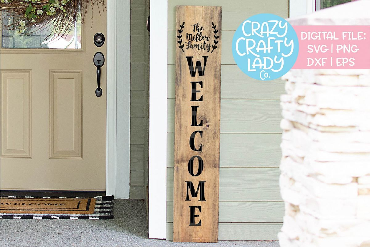 Welcome Porch Sign - Blank Laurel SVG DXF EPS PNG Cut File example image 1