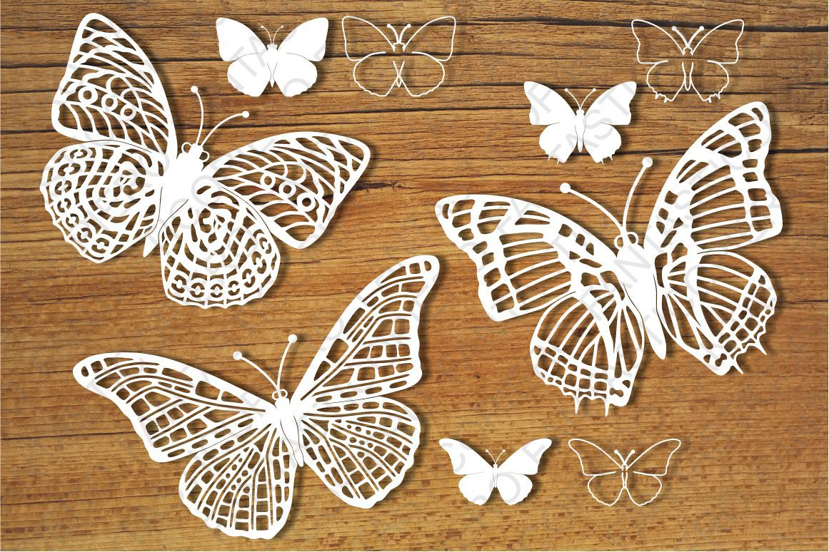 Butterflies set 1 SVG files for Silhouette and Cricut. example image 1