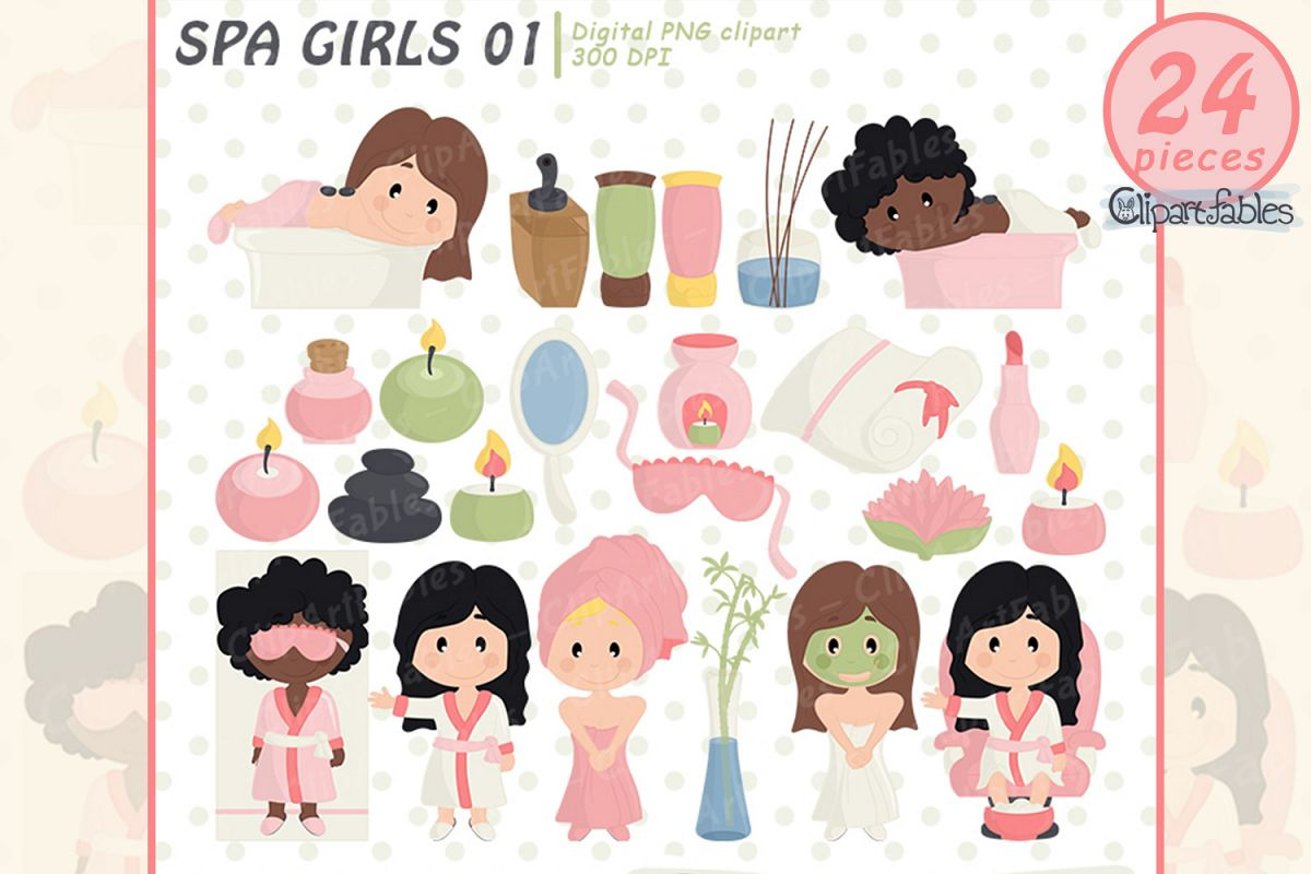 SPA clipart, Beauty salon, Spa birthday - INSTANT download example image 1