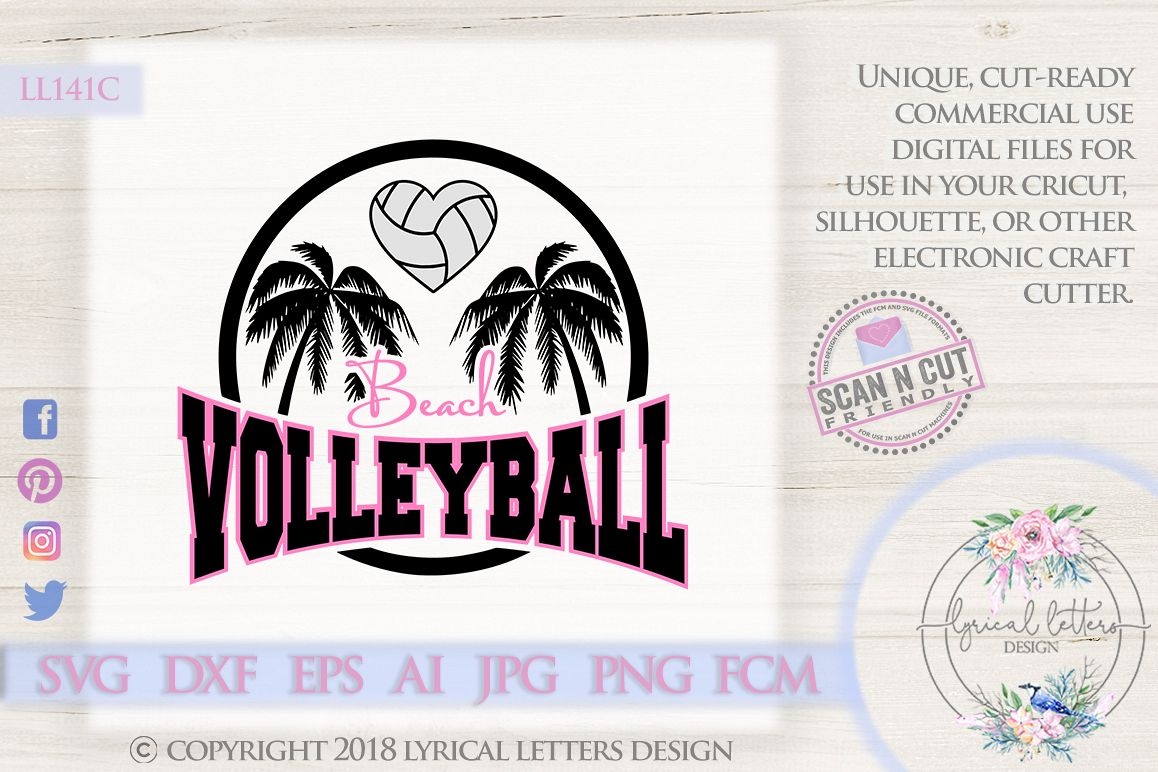 Beach Volleyball with Palm Trees SVG DXF FCM Cut File LL141C example image 1