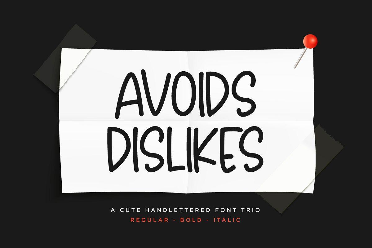 Avoids Dislikes | 3 Handmade Font example image 1