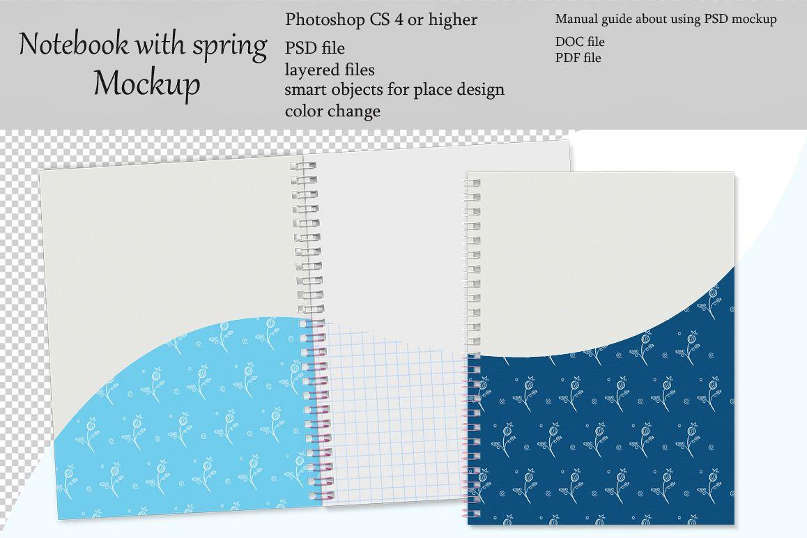 Notebook with spring mockup. Sketchbook mockup. example image 1