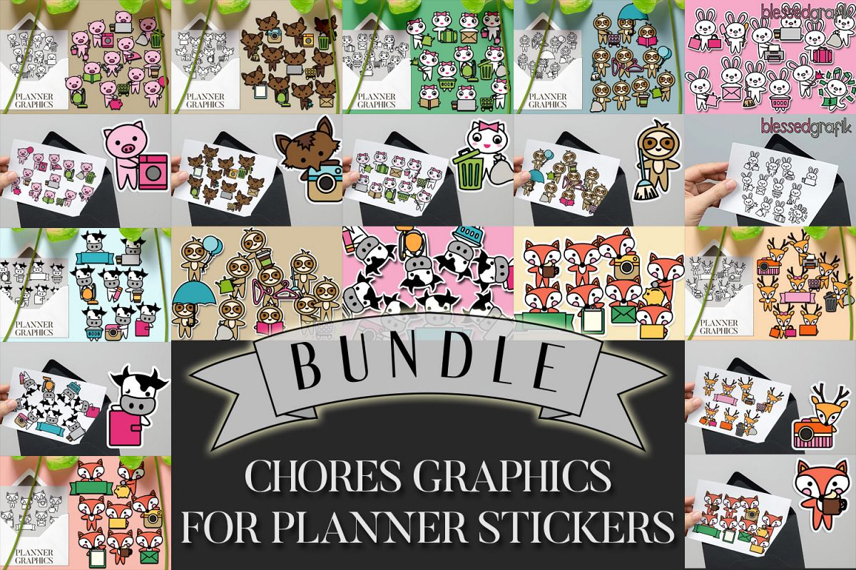 Chores Bundle - Animals characters clip art illustrations example image 1