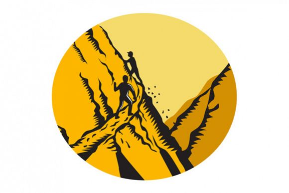 Trampers Climbing Steep Path Mountain Oval Woodcut example image 1