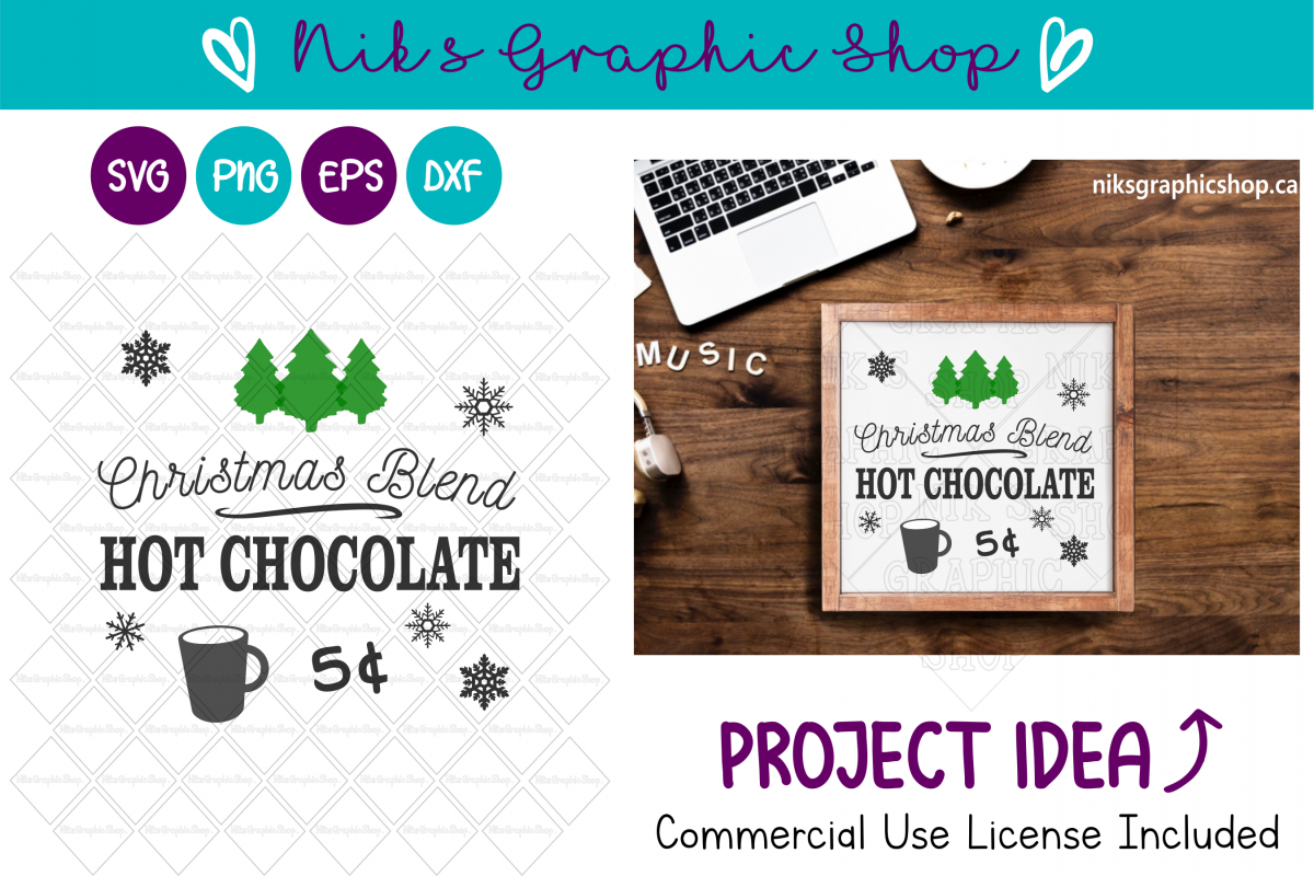 Hot Chocolate Svg, Hot Chocolate Sign Svg, Christmas Sign example image 1