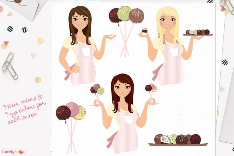 Woman chocolatier character clip art L129 Zara example image 1
