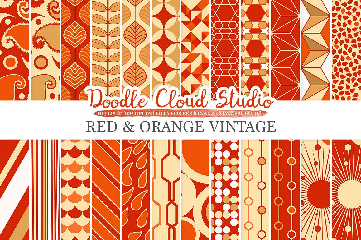 Red and Orange Retro digital paper, Geometric Vintage patterns, Red and Gold digital backgrounds for Personal & Commercial Use example image 1