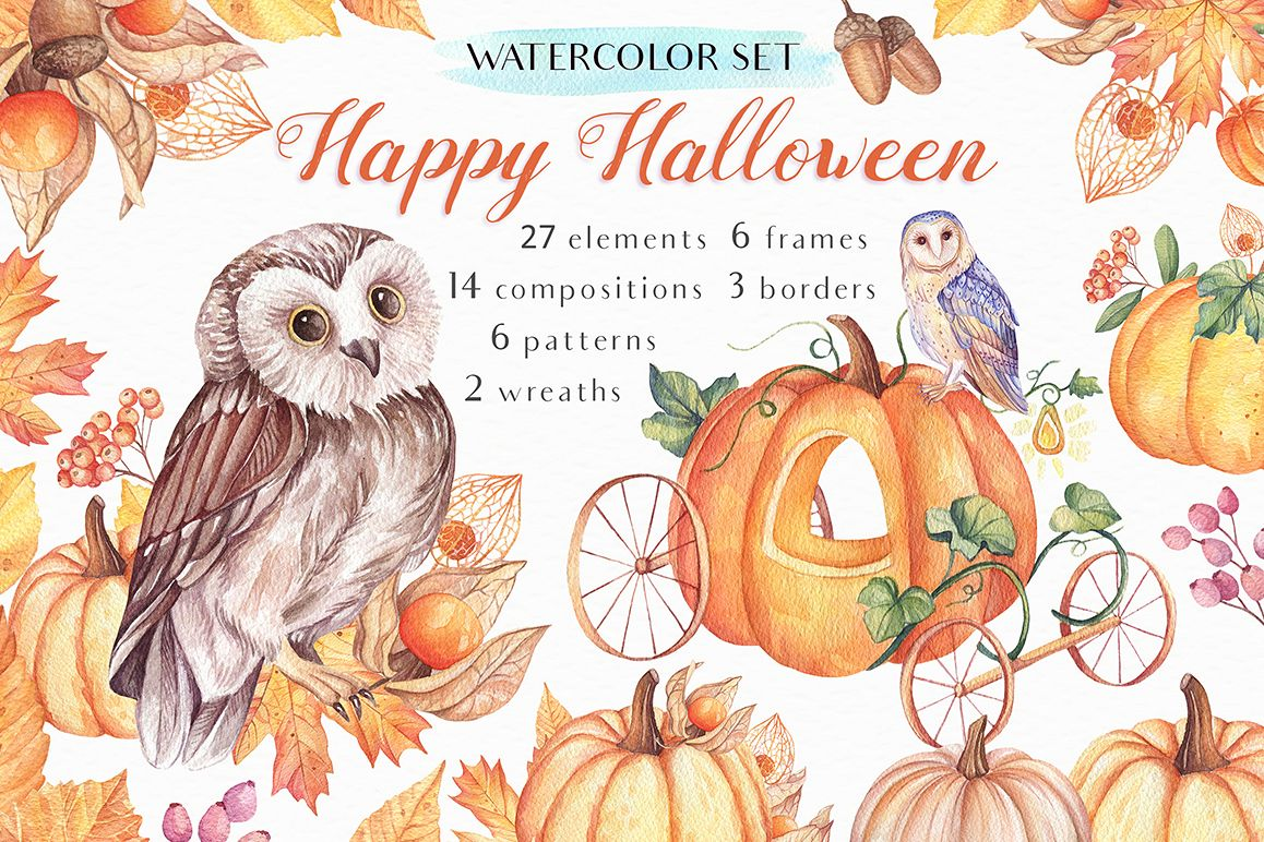 Happy Halloween - Watercolor Set example image 1