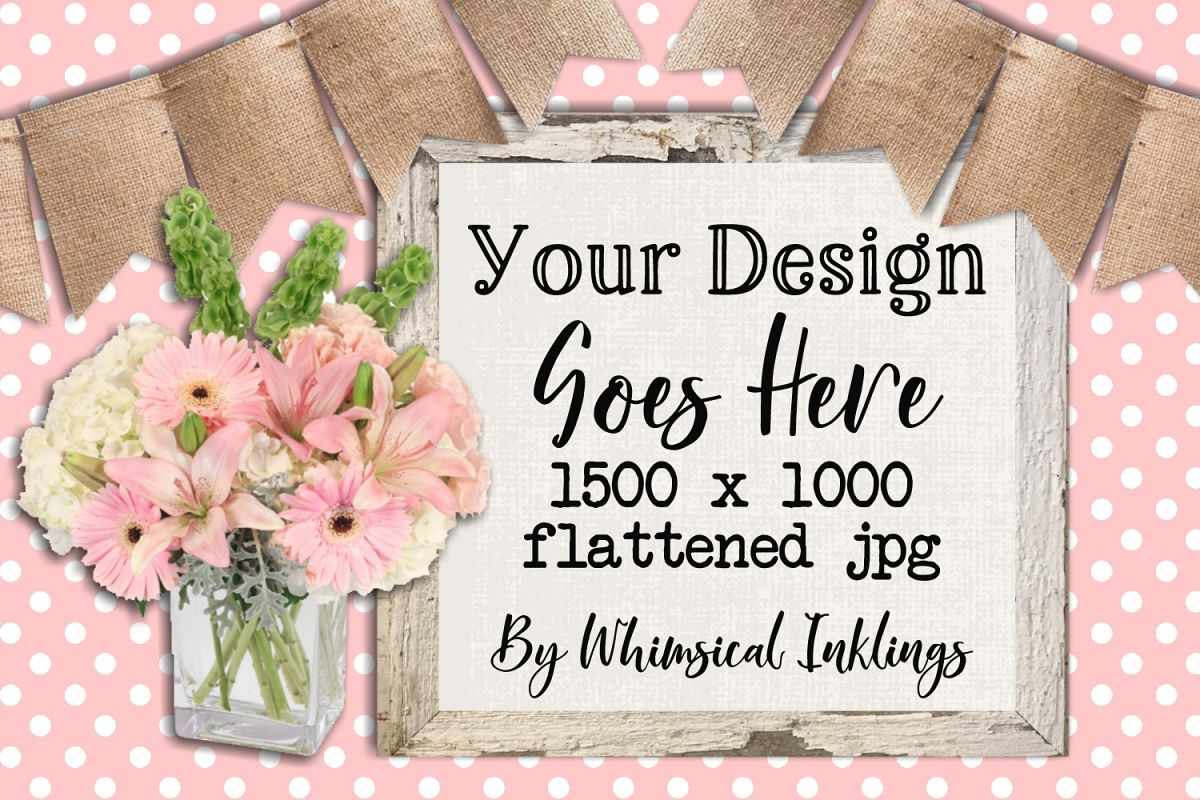 Pretty Pink Flowers Sign Mock Up example image 1