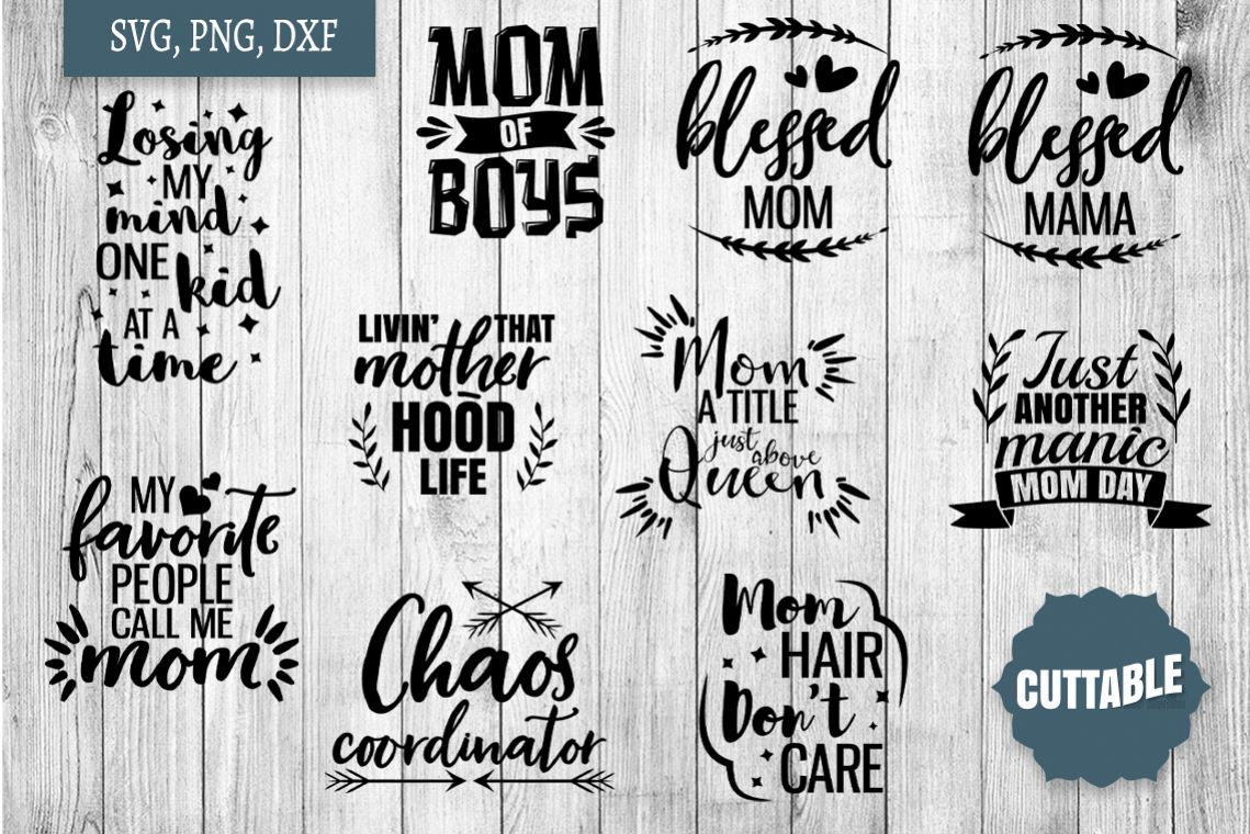 Mom cut files, Mom life SVG, Blessed Mom cut file Bundle example image 1