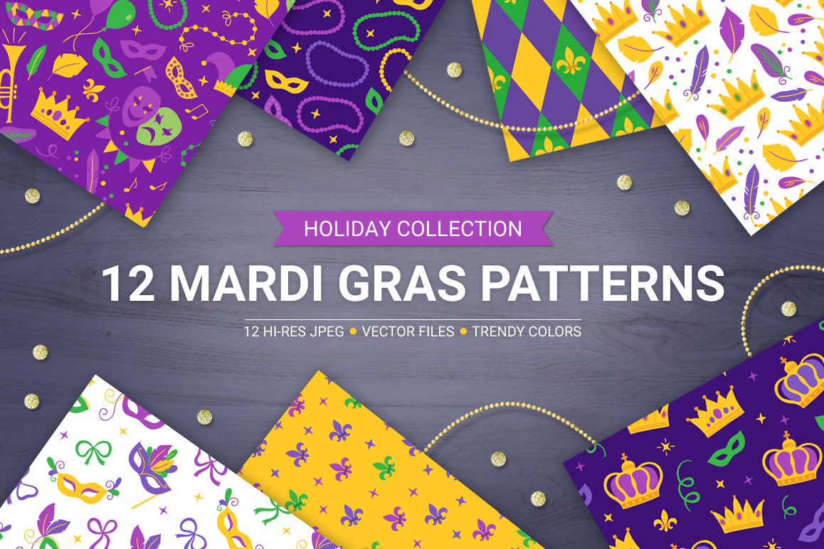 12 Mardi Gras Seamless Patterns example image 1