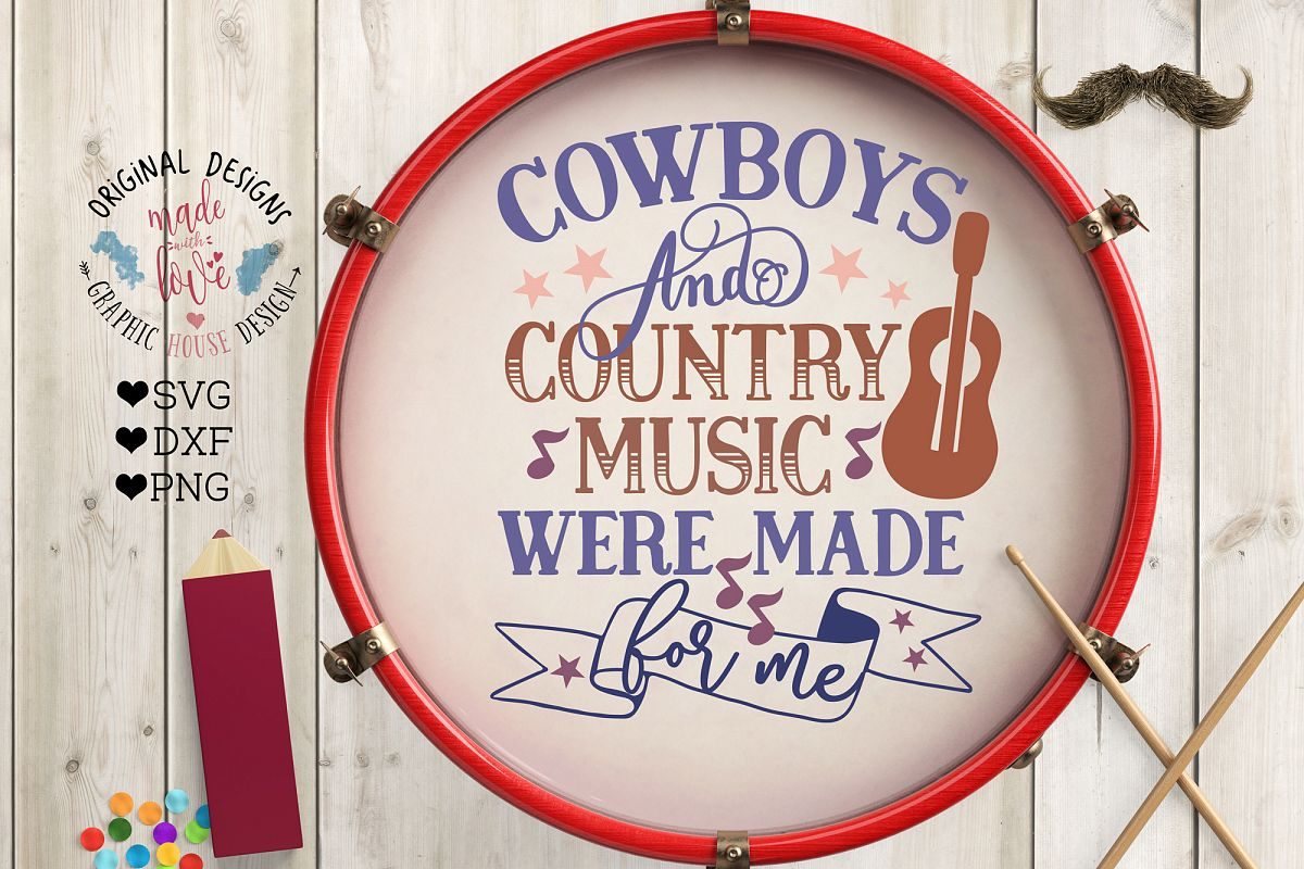 Cowboys and Country Music Cut File in SVG, DXF, PNG example image 1