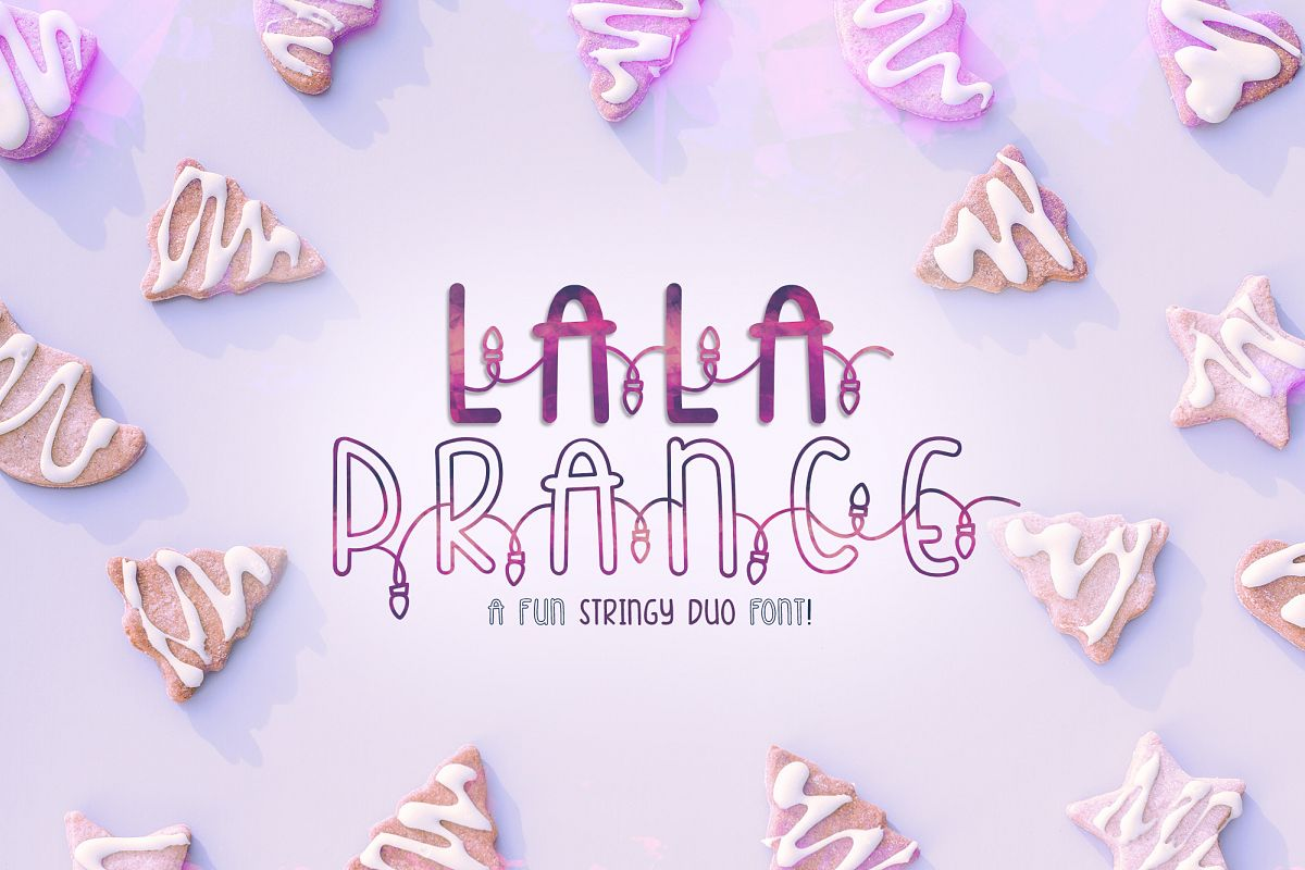 Lala Prance | A fun stringy duo font | Lighted Font example image 1