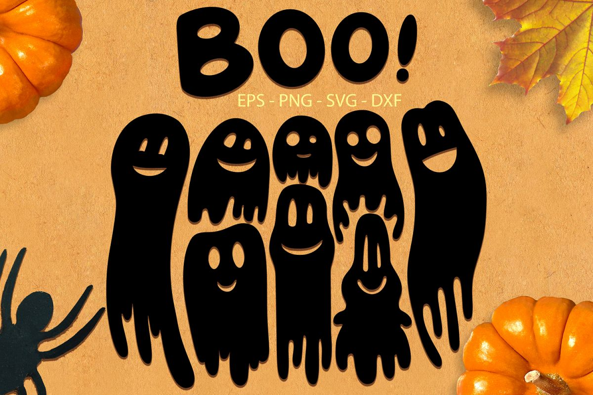 Ghosts svg png dxf eps - Halloween Ghosts Collection example image 1