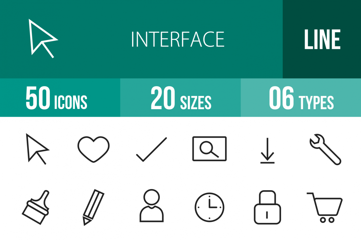50 Web Interface Line Icons example image 1