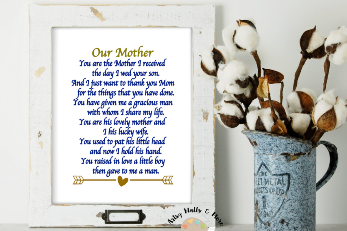 Mother In Law Poem Printable Wall Art Mothers Wedding Gift