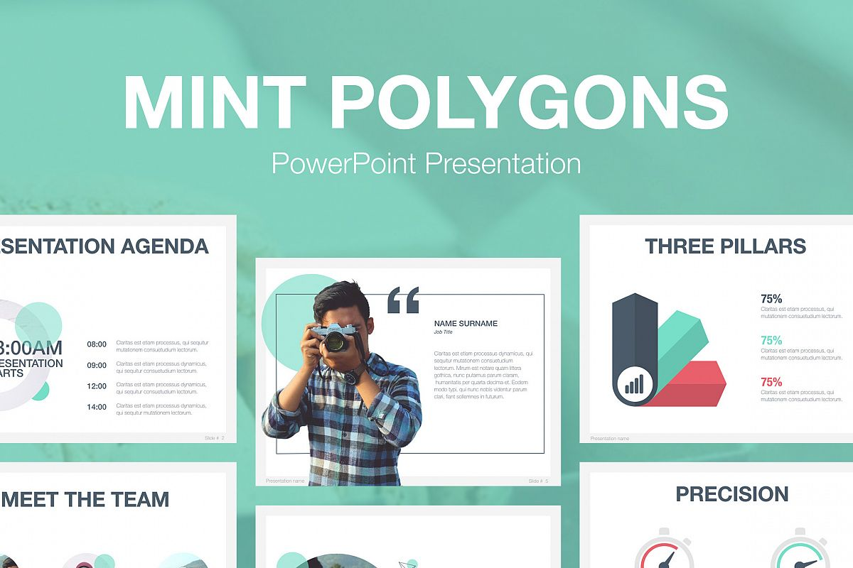 mint polygons powerpoint template by ju design bundles