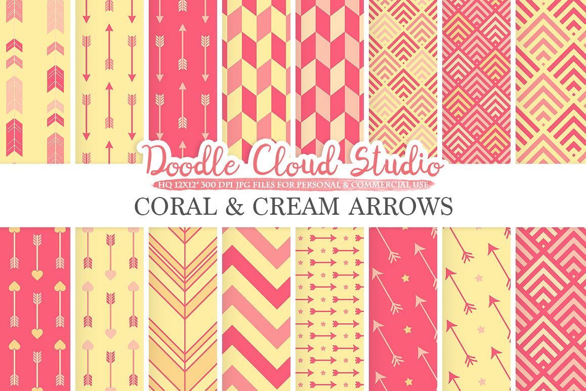 Coral and Cream Arrows digital paper, Arrow patterns, tribal, archery, chevron triangles backgrounds for Personal & Commercial Use example image 1