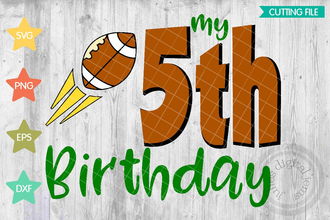 Fifth Birthday Shirt Boy SVG Football Svg Example Image 1