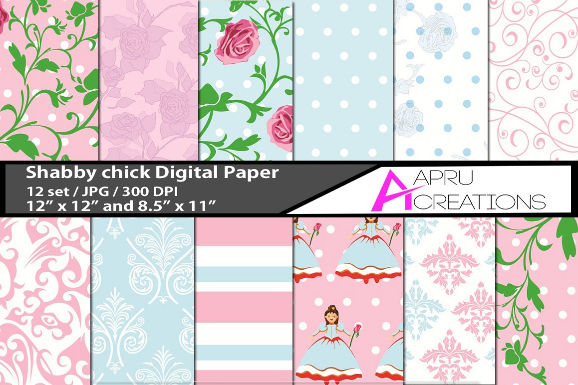 shabby chick pattern digital papers,  shubby chick pattern, digital papers, high quality 300 dpi, 12 x 12 inch , and 8.5 x 11 inch example image 1