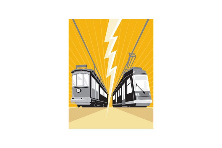 Vintage and Modern Streetcar Tram Train example image 1