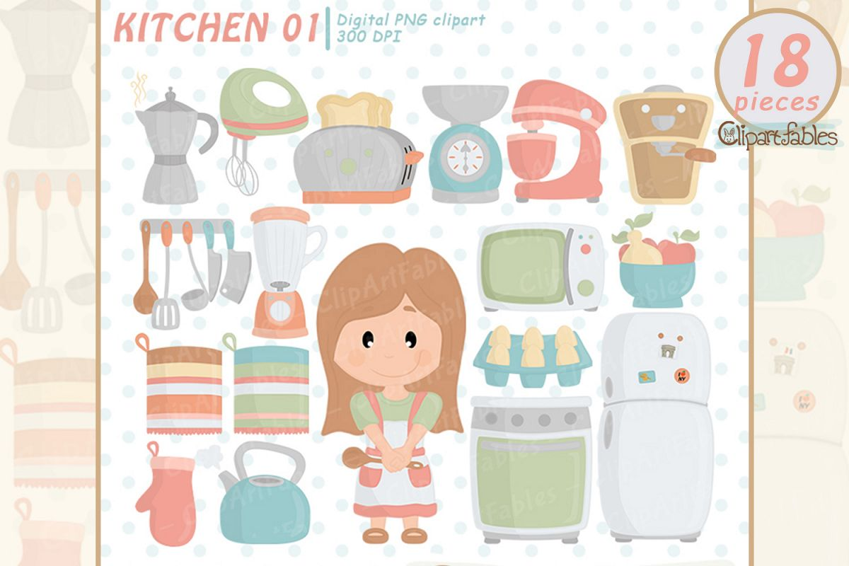 Kitchen clipart, cute girl chef clip art, in the kitchen art example image 1
