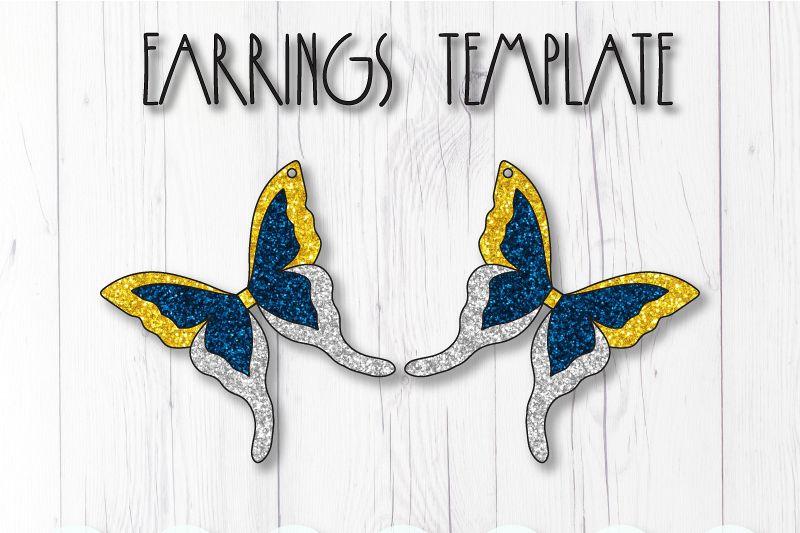 Butterfly earrings template SVG, DIY earrings template example image 1